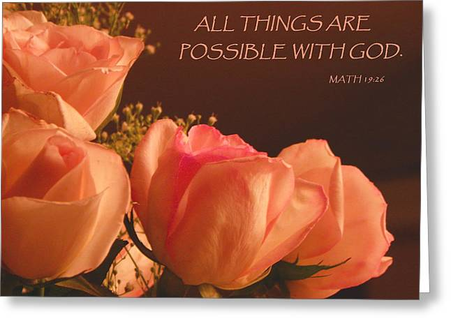 Peach Roses With Scripture Greeting Card by Sandi OReilly