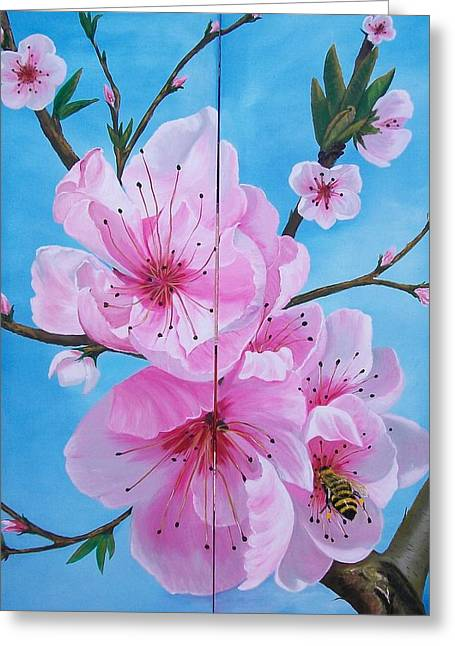 Peach Tree In Bloom Diptych Greeting Card