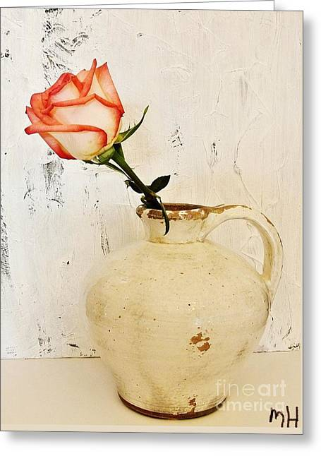 Peach Trim Rose In Pottery Greeting Card