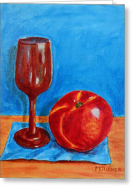 Peach Wine Greeting Card by Melvin Turner