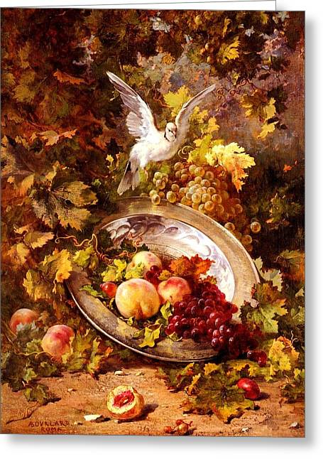 Greeting Card featuring the painting Peaches And Grapes With A Dove - Bourland - 1875 by Antoine Bourland