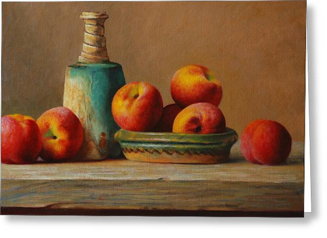 Peaches And Green Ceramic Greeting Card by Dan Petrov