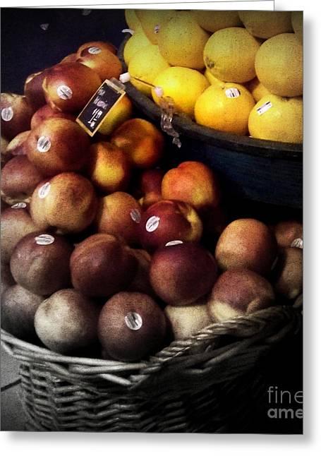 Peaches And Lemons Antique Greeting Card by Miriam Danar