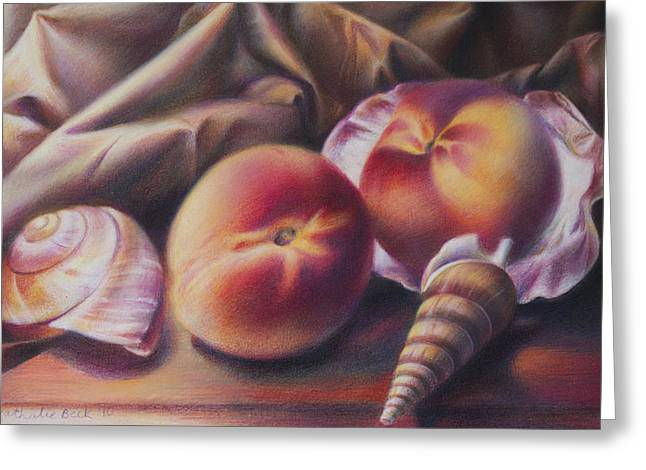 Peaches And Seashells Greeting Card by Nathalie Beck