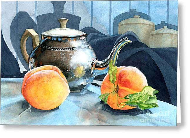 Peaches And Tea Greeting Card by Barbara Jewell