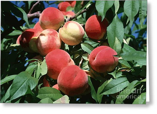 Peaches On Tree Greeting Card by Lanjee Chee