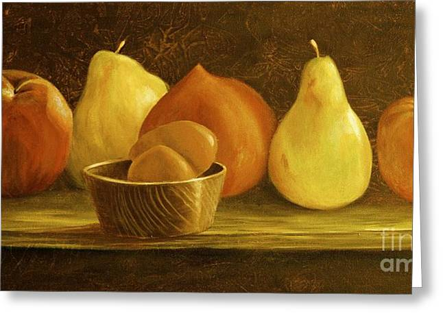 Peaches Pears And Eggs Greeting Card by AnnaJo Vahle