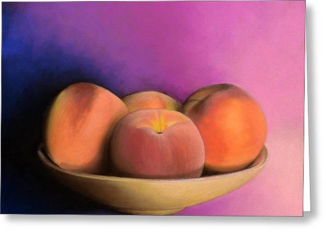 Peaches - Pastel Greeting Card by Ben Kotyuk