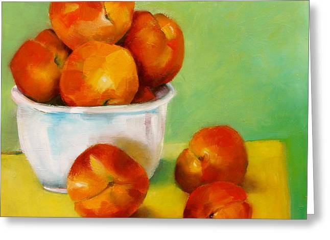 Greeting Card featuring the painting Peachy Keen by Michelle Abrams