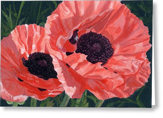 Greeting Card featuring the painting Peachy Poppies by Lynne Reichhart