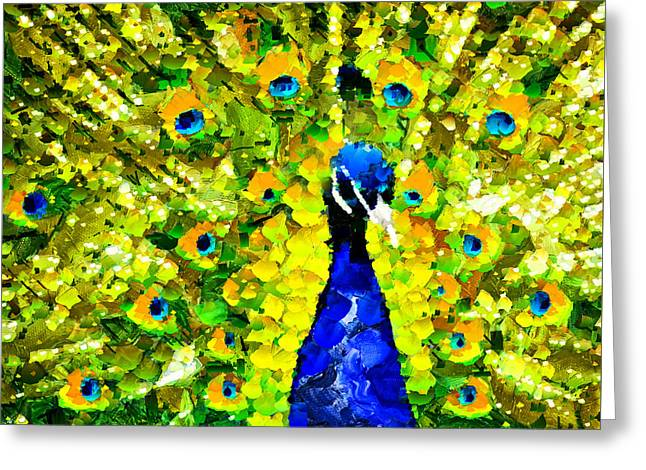 Peacock Abstract Realism Greeting Card