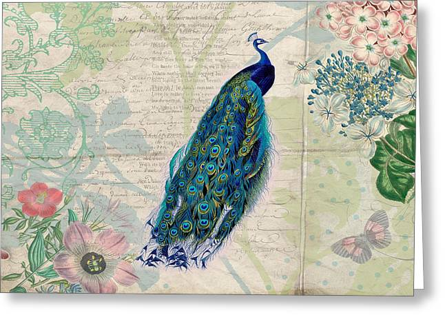 Peacock And Botanical Art Greeting Card by Peggy Collins