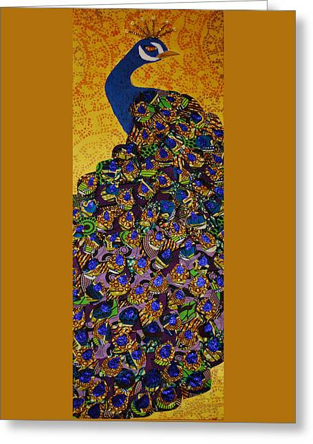 Greeting Card featuring the tapestry - textile Peacock Blue by Apanaki Temitayo M