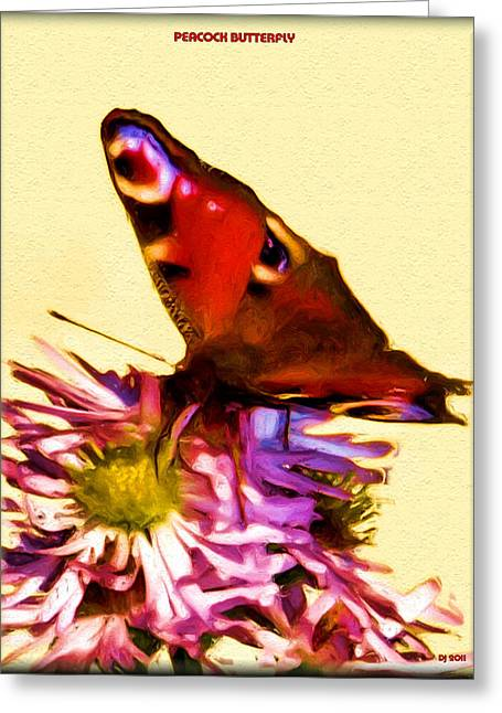 Greeting Card featuring the digital art Peacock Butterfly by Daniel Janda