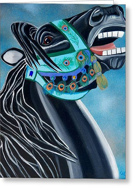 Peacock Carousel Horse Greeting Card by Debbie LaFrance