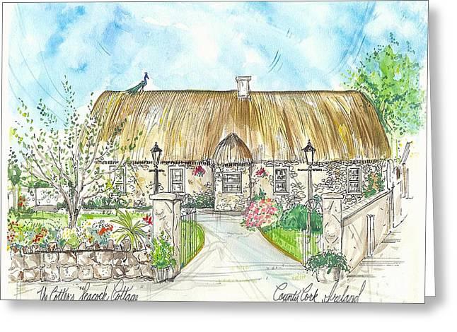 House Portrait Peacock Cottage Kanturk County Cork Ireland Greeting Card