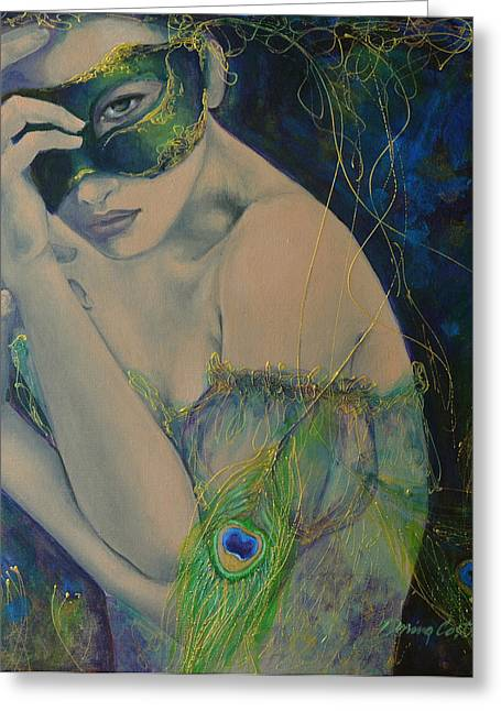 Peacock Enigma Greeting Card by Dorina  Costras