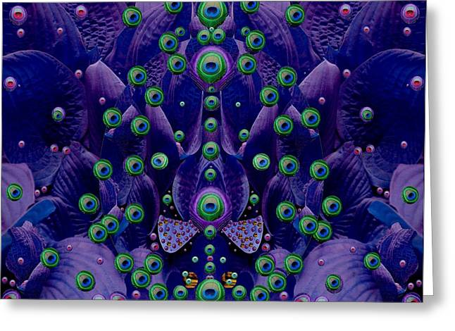 Peacock Eyes In A Fantasy Landscape Greeting Card by Pepita Selles