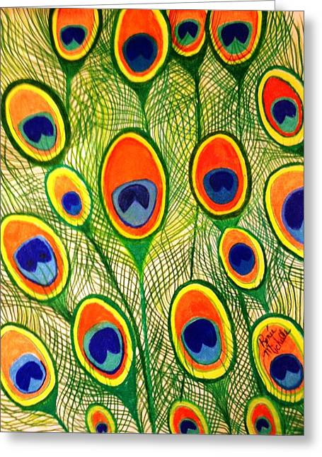 Peacock Feather Frenzy Greeting Card by Renee Michelle Wenker