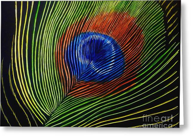 Peacock Feather Greeting Card by Jennifer Jeffris