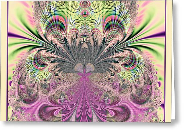 Peacock Feathers Bouquet Fractal 157 Greeting Card by Rose Santuci-Sofranko