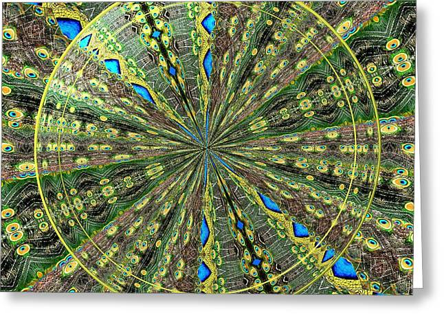 Peacock Feathers Kaleidoscope Under Glass 3 Greeting Card