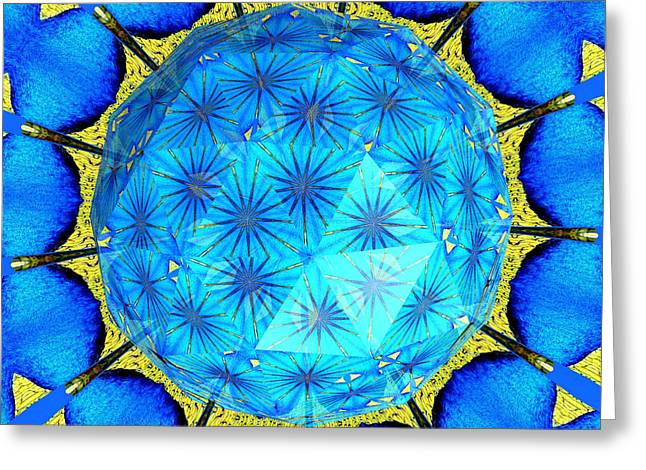Peacock Feathers Under Polyhedron Glass 2 Greeting Card