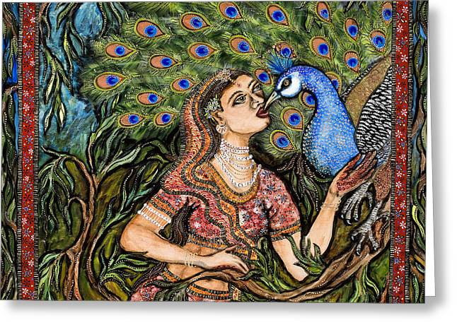 Peacock Girl Greeting Card