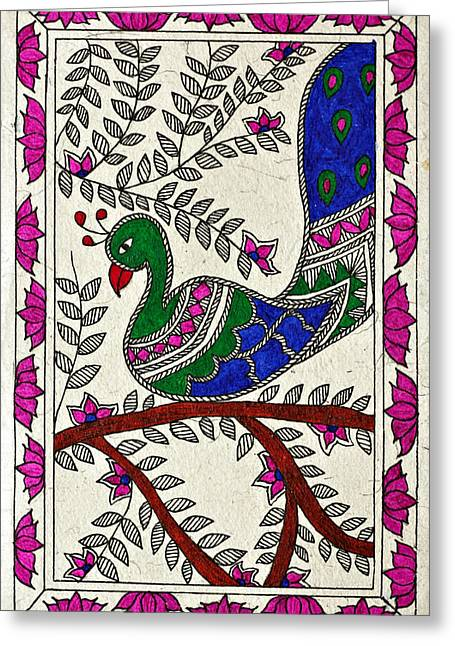Peacock In Bloom Greeting Card by Neha Dasgupta