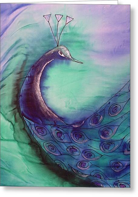 Peacock In Blue Greeting Card