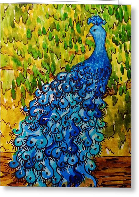 Greeting Card featuring the painting Peacock by Katherine Young-Beck