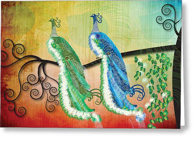Greeting Card featuring the digital art Peacock Love by Kim Prowse