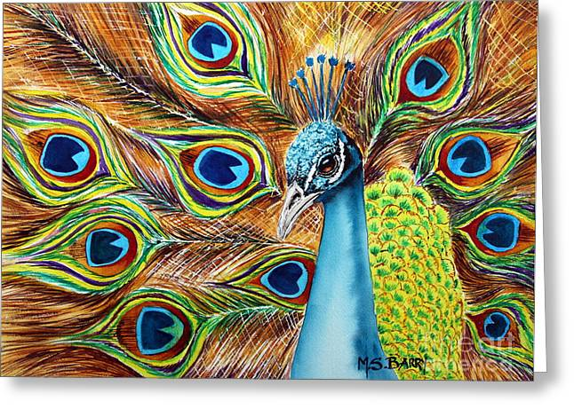 Peacock Greeting Card by Maria Barry
