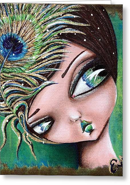 Peacock Princess Greeting Card by Lizzy Love of Oddball Art Co