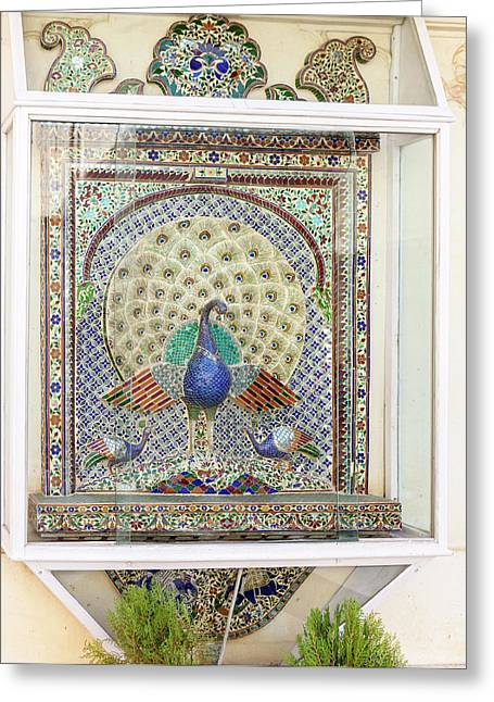 Peacock Tile Mosaic Greeting Card by Tom Norring