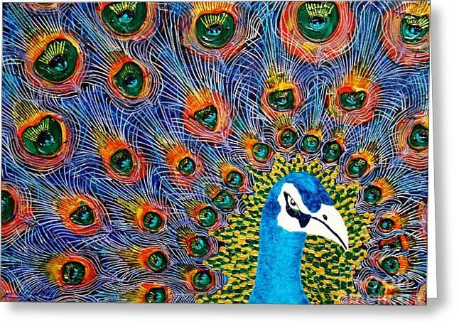 Peacock Greeting Card by Tracy Lynn Davies