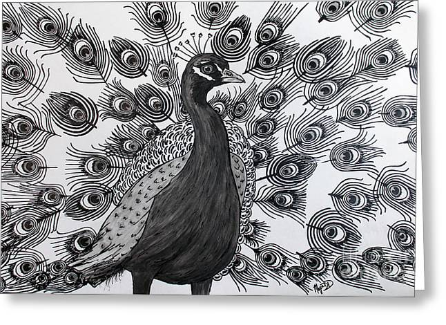 Greeting Card featuring the drawing Peacock Walk by Megan Dirsa-DuBois