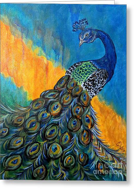 Peacock Waltz #3 Greeting Card