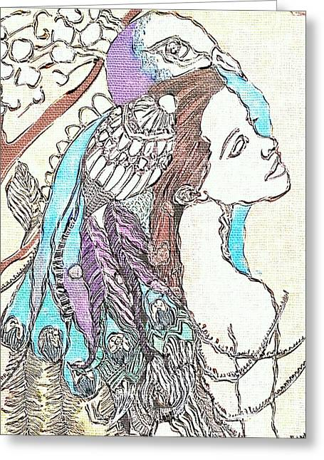 Peacock Woman 2 Greeting Card by Amy Sorrell