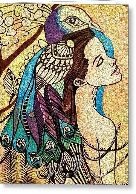 Peacock Woman Greeting Card by Amy Sorrell