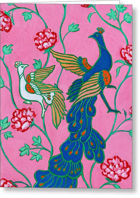 Peacocks Flying Southeast Greeting Card by Xueling Zou