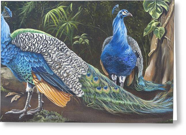 Peacocks In The Garden Greeting Card by Phyllis Beiser