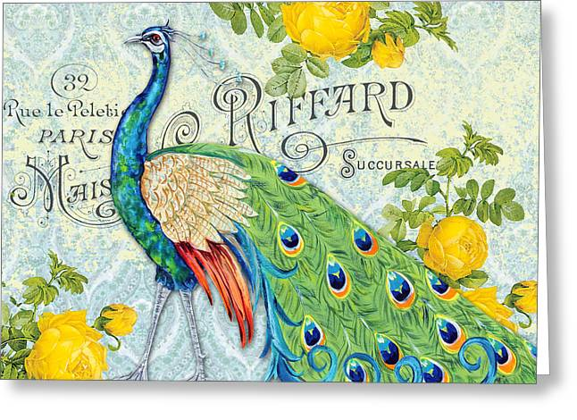 Peacocks In The Rose Garden-3 Greeting Card by Jean Plout
