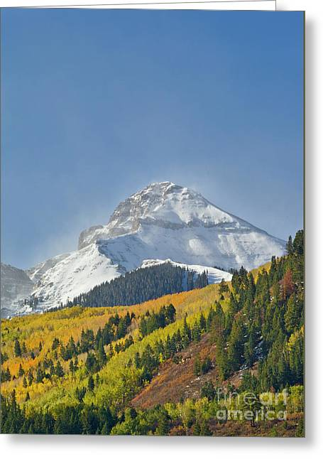 Peak After First Snow Rocky Mts Colorado Greeting Card by Yva Momatiuk John Eastcott