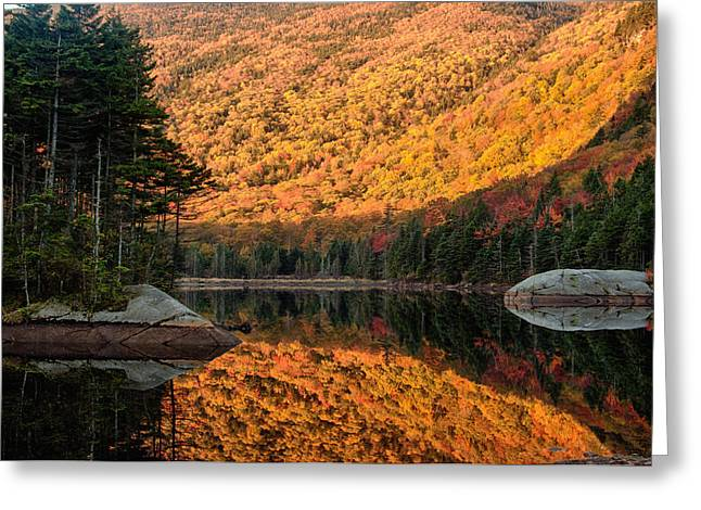 Greeting Card featuring the photograph Peak Fall Foliage On Beaver Pond by Jeff Folger