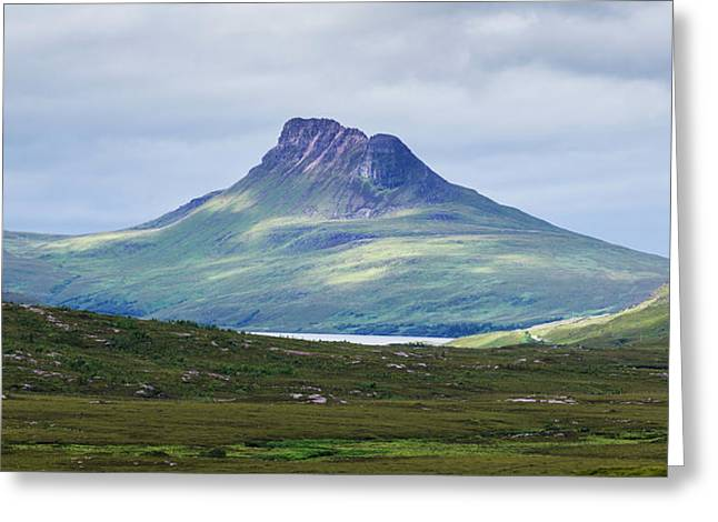 Peak Of A Mountain Under A Cloudy Sky Greeting Card