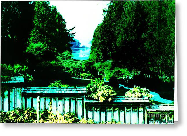 Peaking At Gorge Waterway Victoria British Columbia Greeting Card