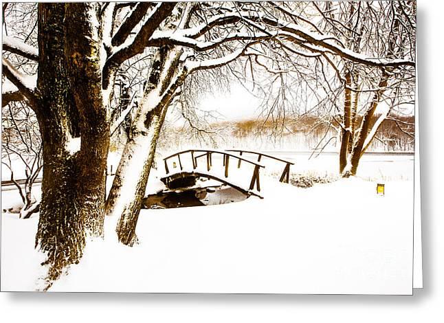 Peaks Snow Bridge Greeting Card by Mark East