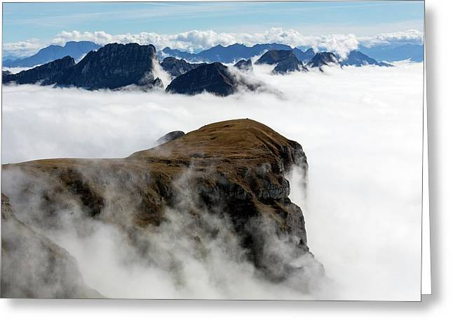 Peaks Surrounded By Sea Of Fog Greeting Card