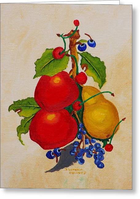 Greeting Card featuring the painting Pear And Apples by Johanna Bruwer